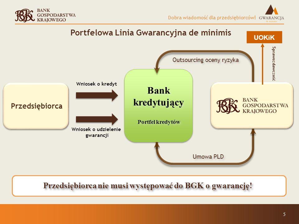 Bank kredytujący Portfelowa Linia Gwarancyjna de minimis