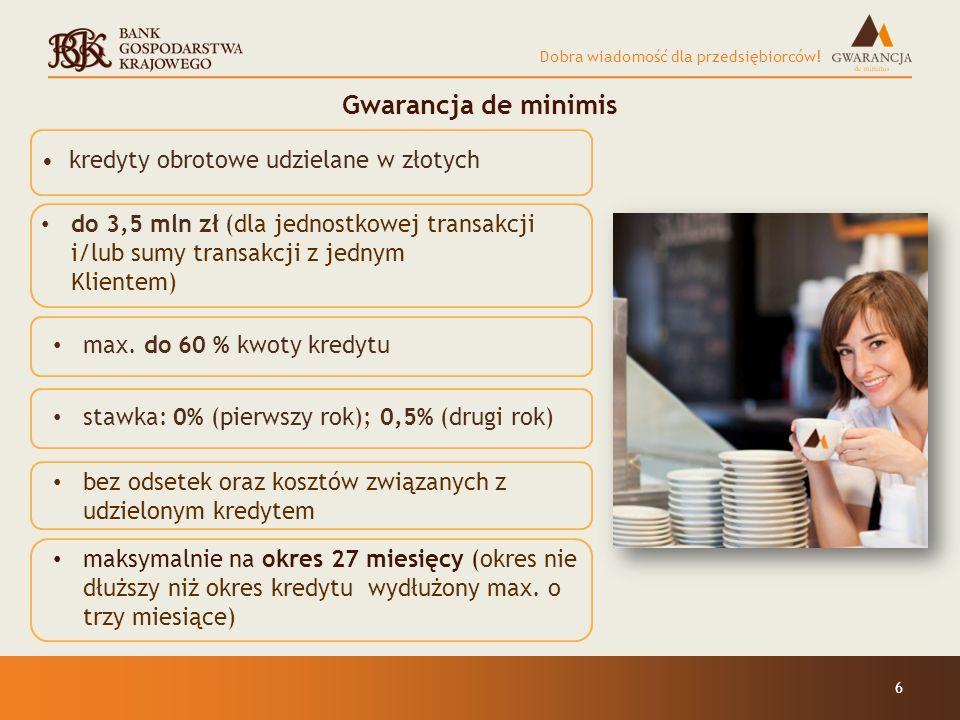 Gwarancja de minimis kredyty obrotowe udzielane w złotych