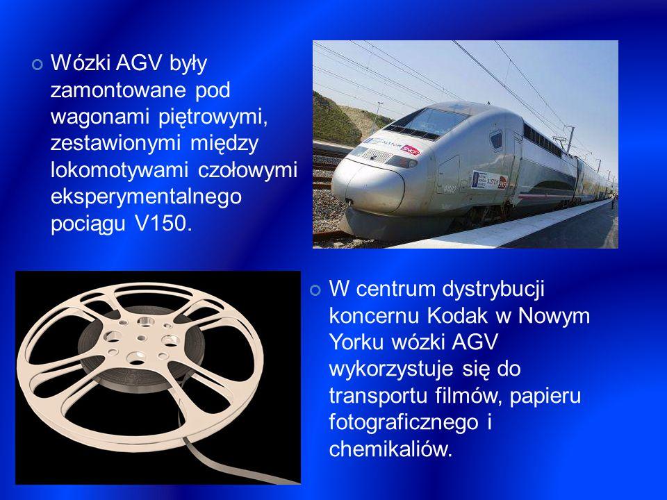 Wózki AGV były zamontowane pod wagonami piętrowymi, zestawionymi między lokomotywami czołowymi eksperymentalnego pociągu V150.