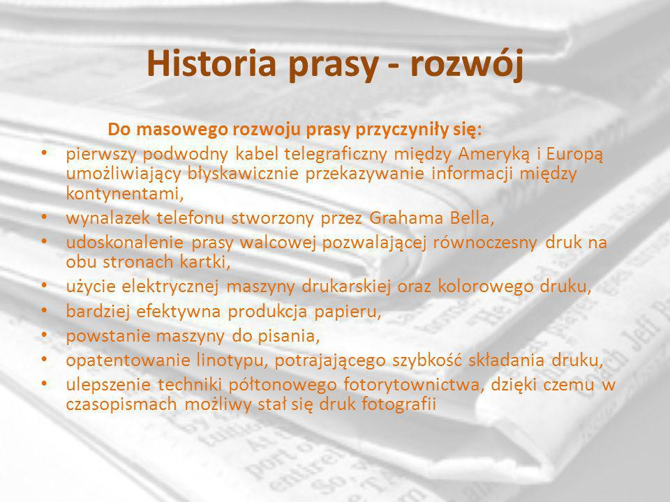 Historia prasy - rozwój