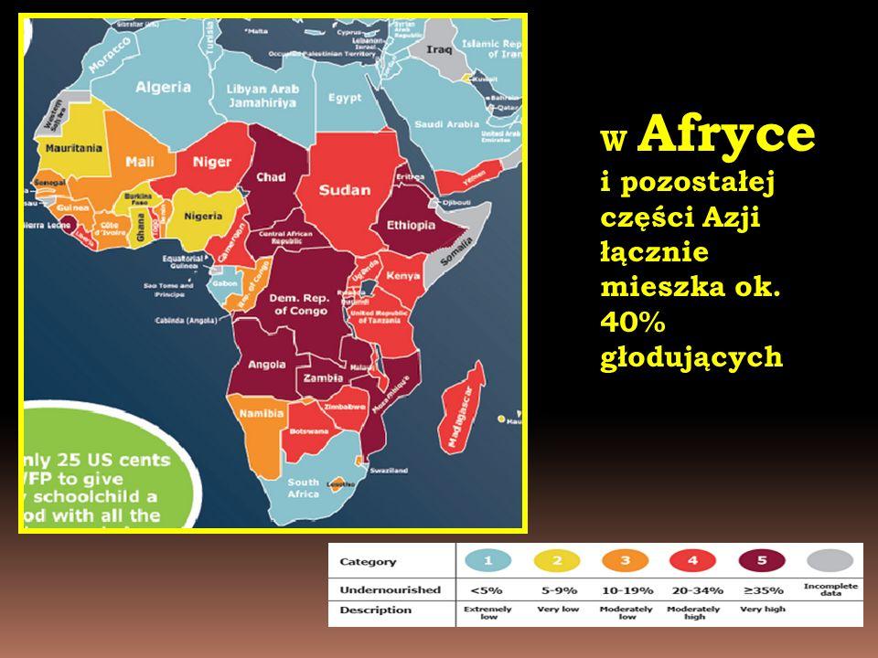 W Afryce i pozostałej części Azji łącznie mieszka ok. 40% głodujących