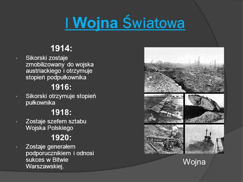 I Wojna Światowa 1914: 1916: 1918: 1920: Wojna