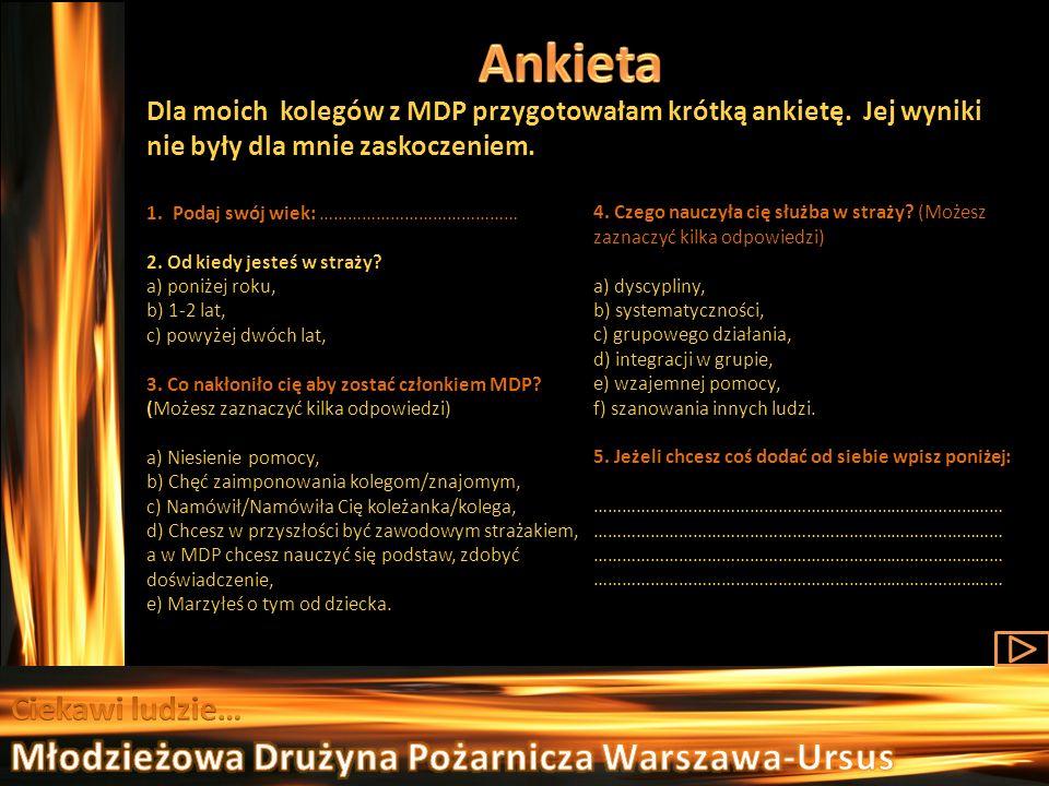 Ankieta Młodzieżowa Drużyna Pożarnicza Warszawa-Ursus Ciekawi ludzie…