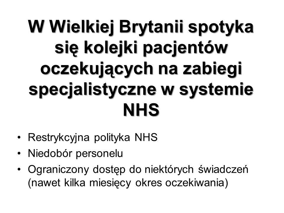W Wielkiej Brytanii spotyka się kolejki pacjentów oczekujących na zabiegi specjalistyczne w systemie NHS