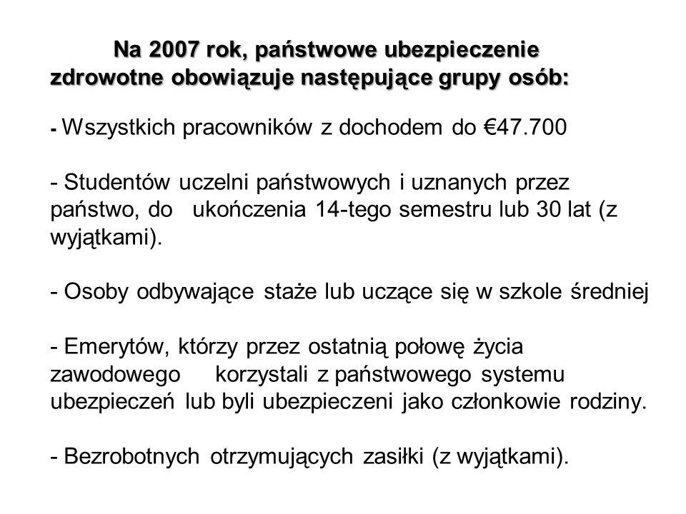 Na 2007 rok, państwowe ubezpieczenie zdrowotne obowiązuje następujące grupy osób: - Wszystkich pracowników z dochodem do €47.700 - Studentów uczelni państwowych i uznanych przez państwo, do ukończenia 14-tego semestru lub 30 lat (z wyjątkami).