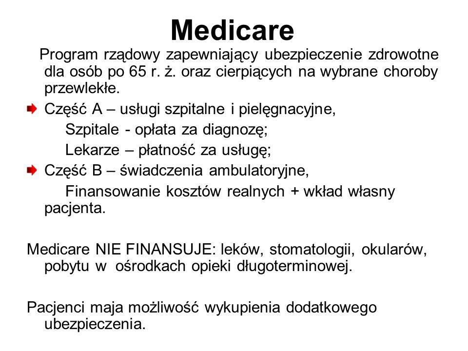 Medicare Program rządowy zapewniający ubezpieczenie zdrowotne dla osób po 65 r. ż. oraz cierpiących na wybrane choroby przewlekłe.