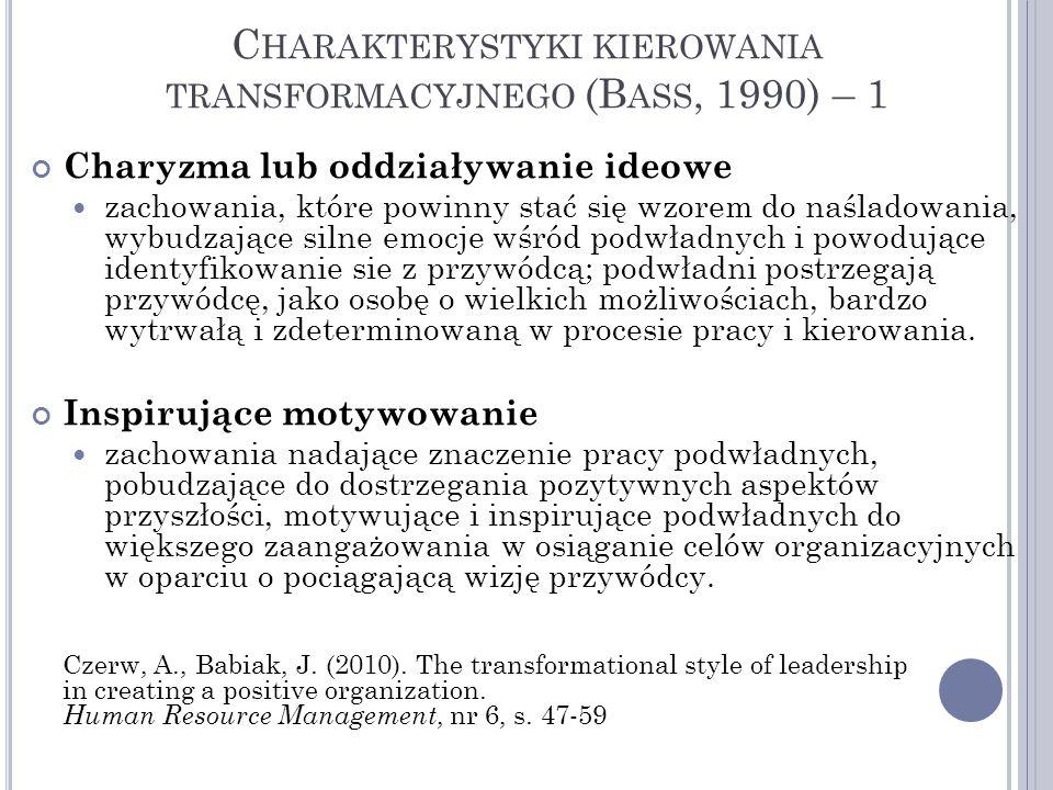 Charakterystyki kierowania transformacyjnego (Bass, 1990) – 1