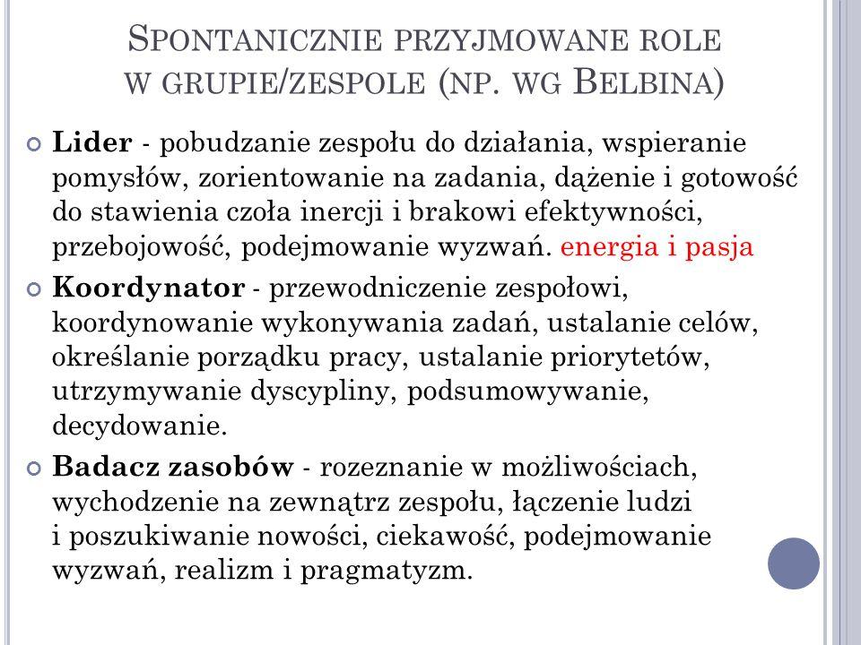 Spontanicznie przyjmowane role w grupie/zespole (np. wg Belbina)