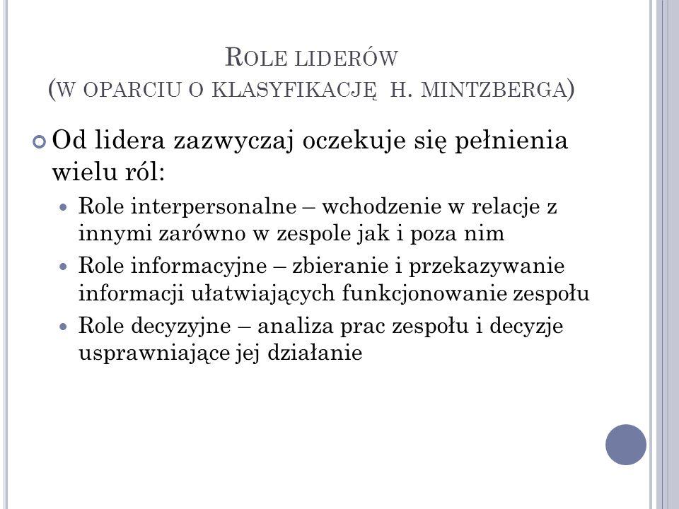 Role liderów (w oparciu o klasyfikację h. mintzberga)