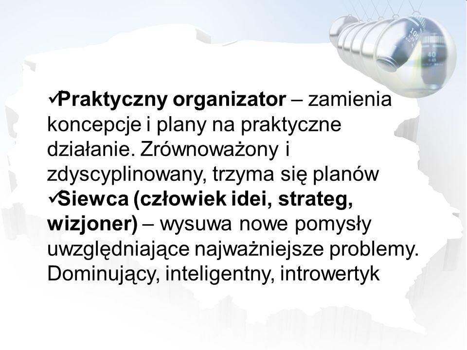 Praktyczny organizator – zamienia koncepcje i plany na praktyczne działanie. Zrównoważony i zdyscyplinowany, trzyma się planów