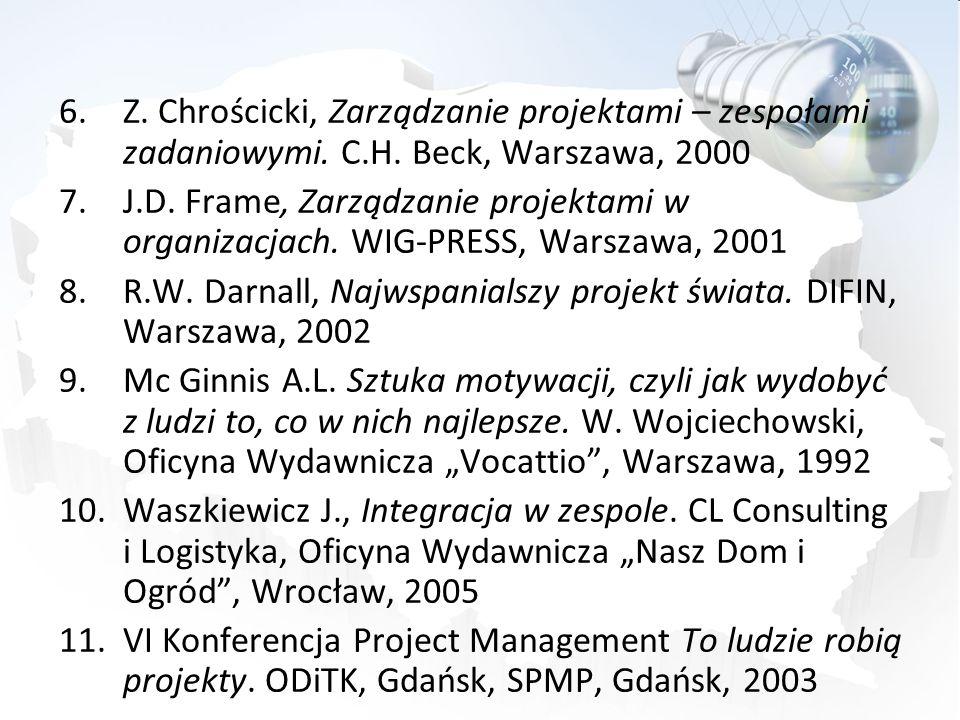 Z. Chrościcki, Zarządzanie projektami – zespołami zadaniowymi. C. H