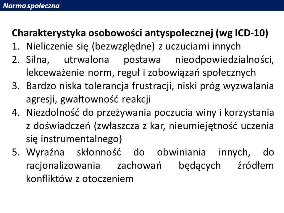 Charakterystyka osobowości antyspołecznej (wg ICD-10)