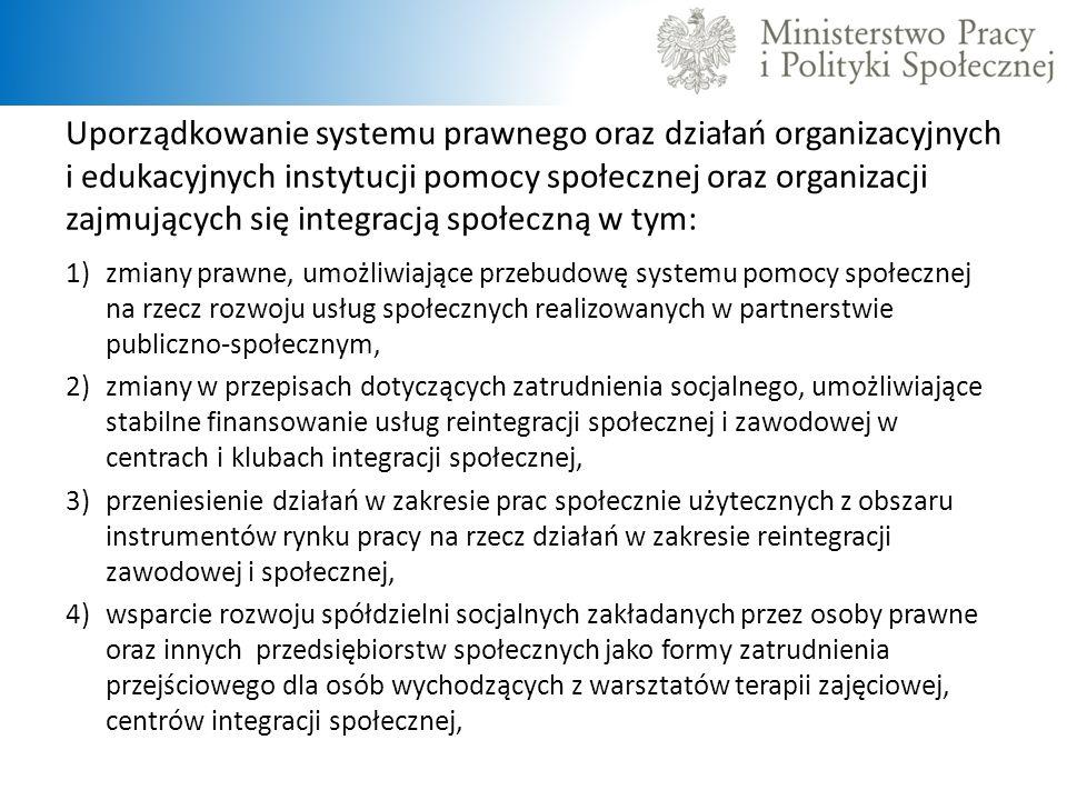Uporządkowanie systemu prawnego oraz działań organizacyjnych i edukacyjnych instytucji pomocy społecznej oraz organizacji zajmujących się integracją społeczną w tym: