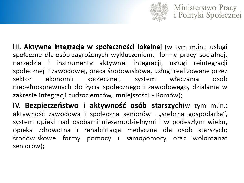 III. Aktywna integracja w społeczności lokalnej (w tym m. in