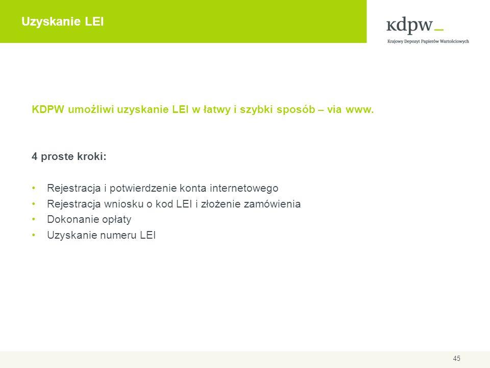 Uzyskanie LEI KDPW umożliwi uzyskanie LEI w łatwy i szybki sposób – via www. 4 proste kroki: Rejestracja i potwierdzenie konta internetowego.