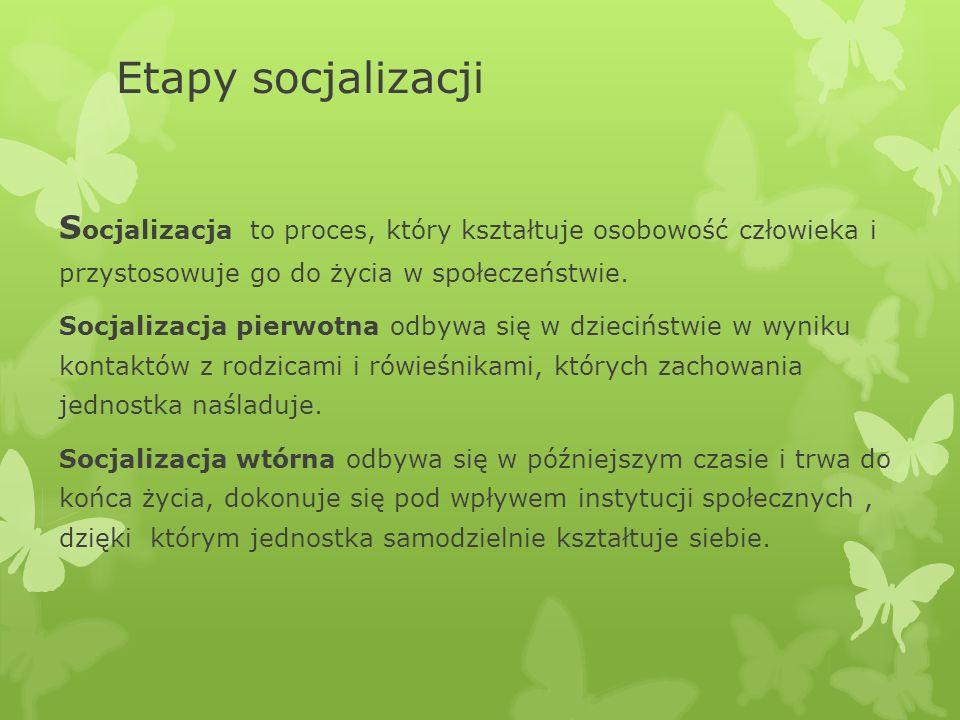 Etapy socjalizacji Socjalizacja to proces, który kształtuje osobowość człowieka i przystosowuje go do życia w społeczeństwie.