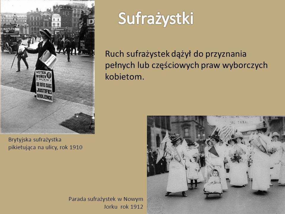 SufrażystkiRuch sufrażystek dążył do przyznania pełnych lub częściowych praw wyborczych kobietom.