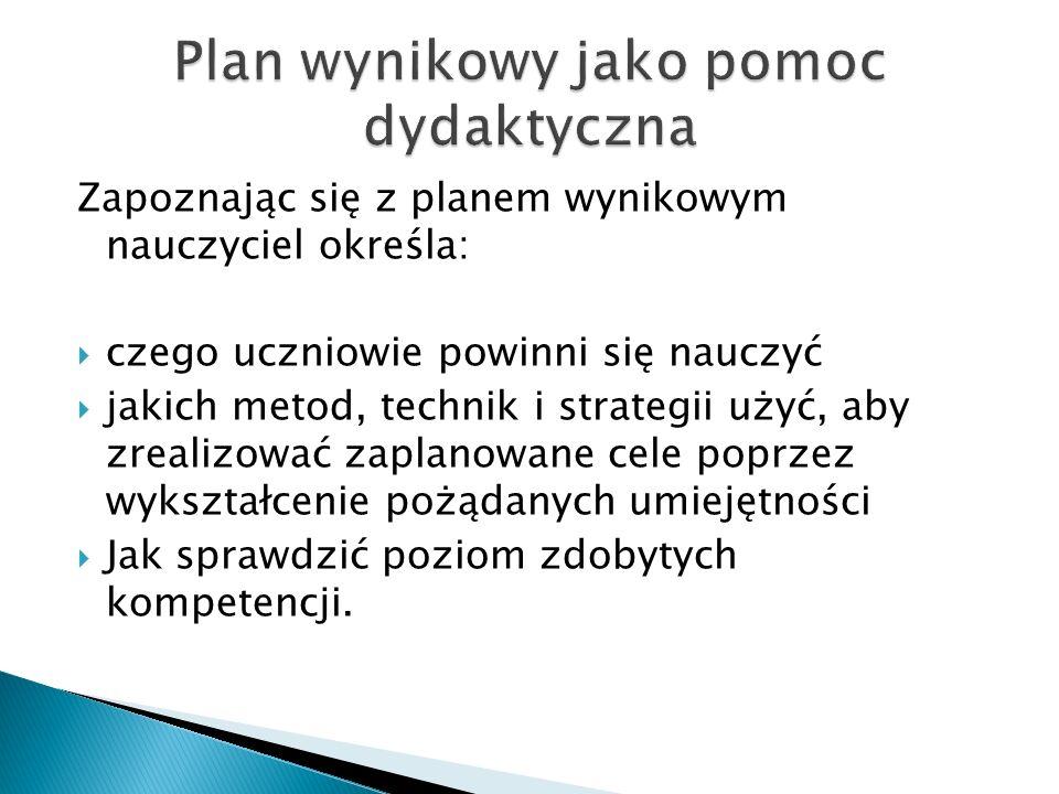 Plan wynikowy jako pomoc dydaktyczna