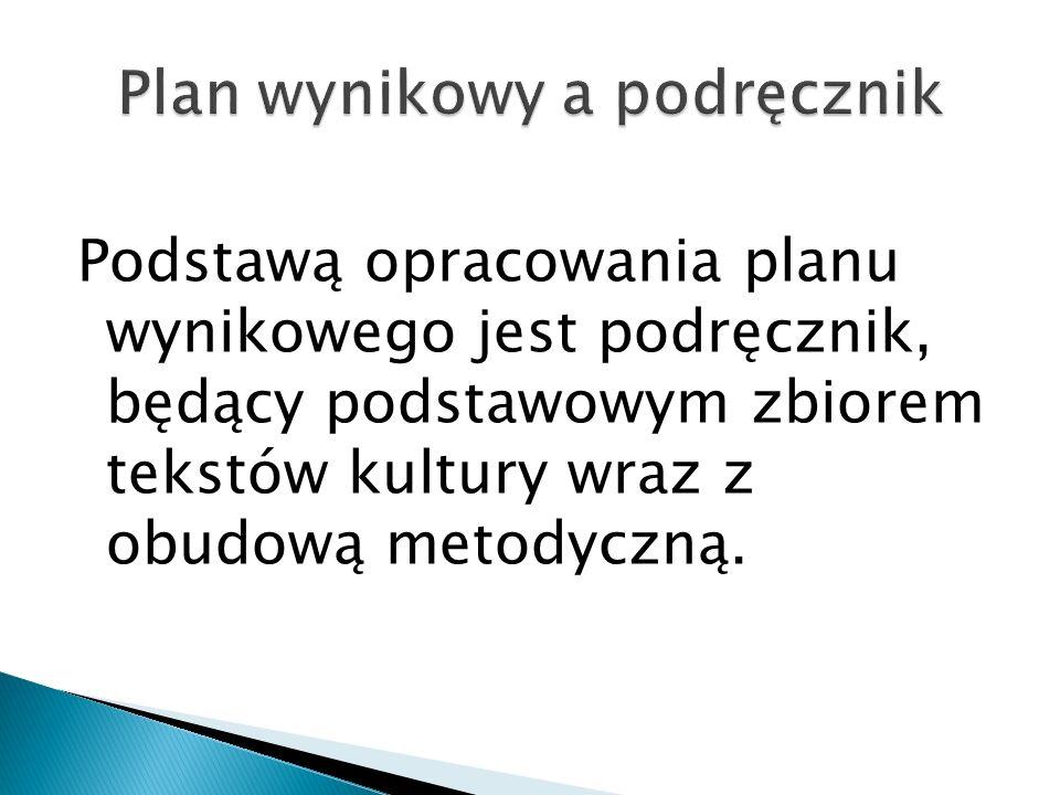 Plan wynikowy a podręcznik