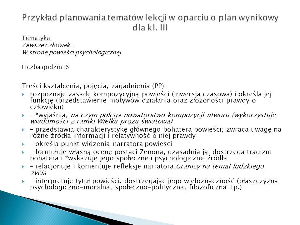 Przykład planowania tematów lekcji w oparciu o plan wynikowy dla kl