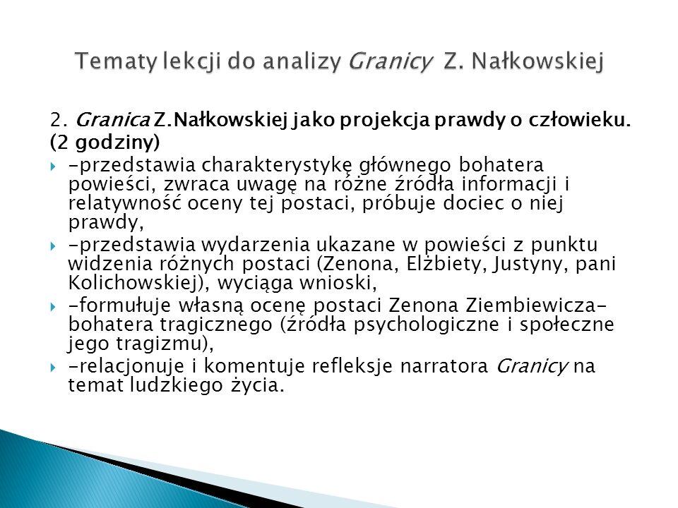 Tematy lekcji do analizy Granicy Z. Nałkowskiej