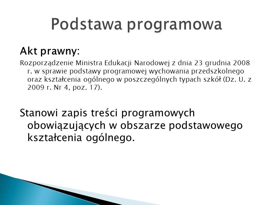 Podstawa programowa Akt prawny: