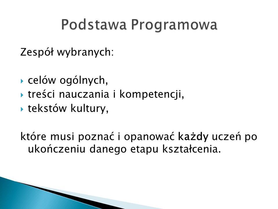 Podstawa Programowa Zespół wybranych: celów ogólnych,