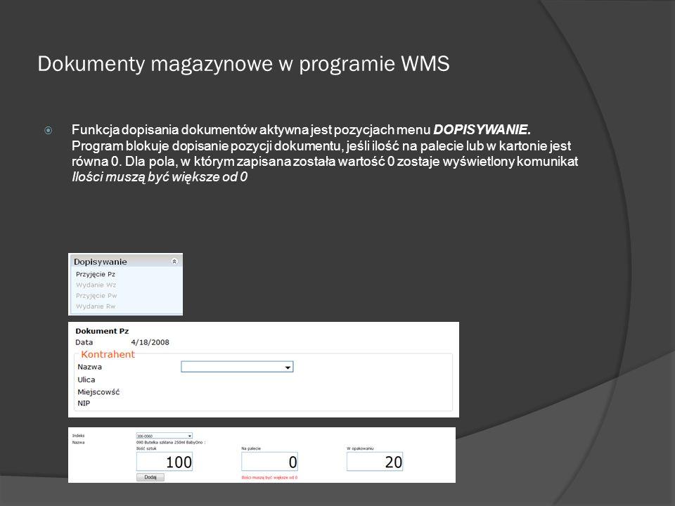 Dokumenty magazynowe w programie WMS