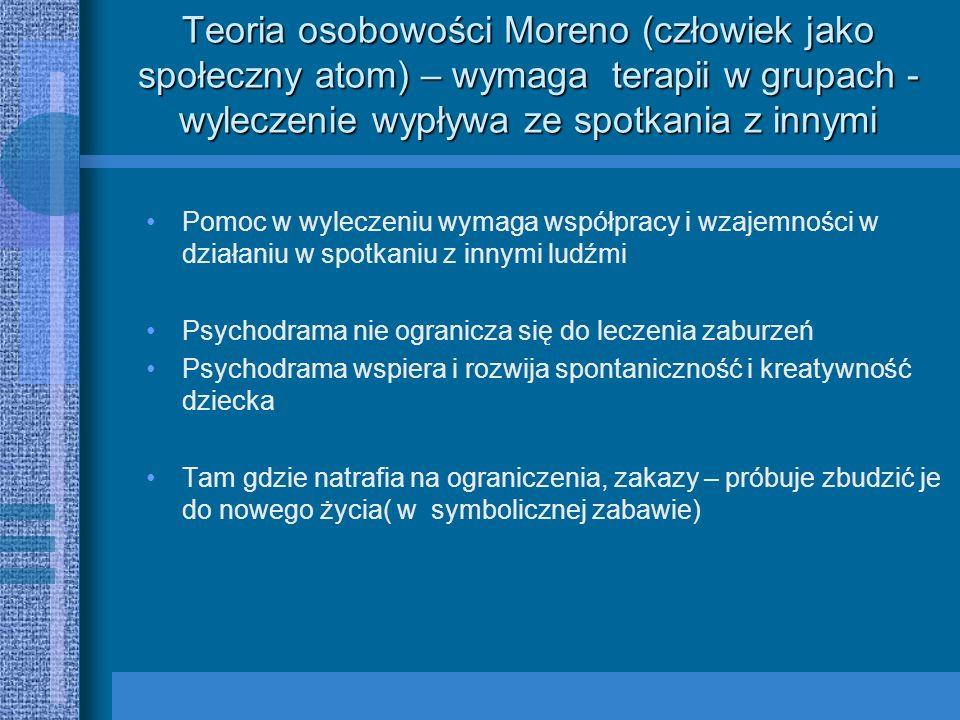 Teoria osobowości Moreno (człowiek jako społeczny atom) – wymaga terapii w grupach - wyleczenie wypływa ze spotkania z innymi