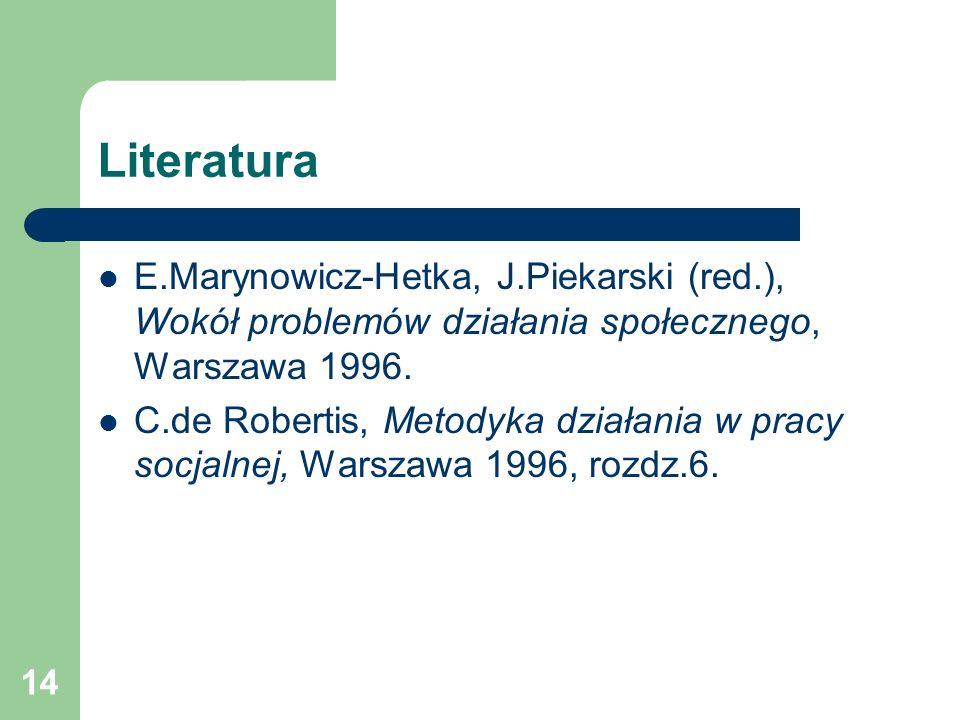 Literatura E.Marynowicz-Hetka, J.Piekarski (red.), Wokół problemów działania społecznego, Warszawa 1996.