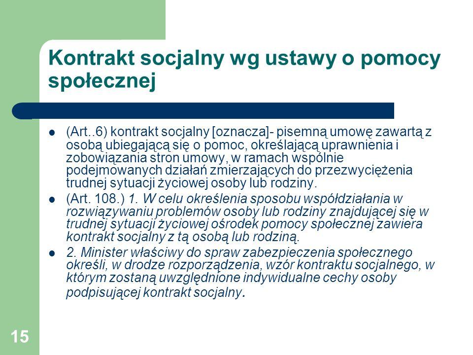 Kontrakt socjalny wg ustawy o pomocy społecznej
