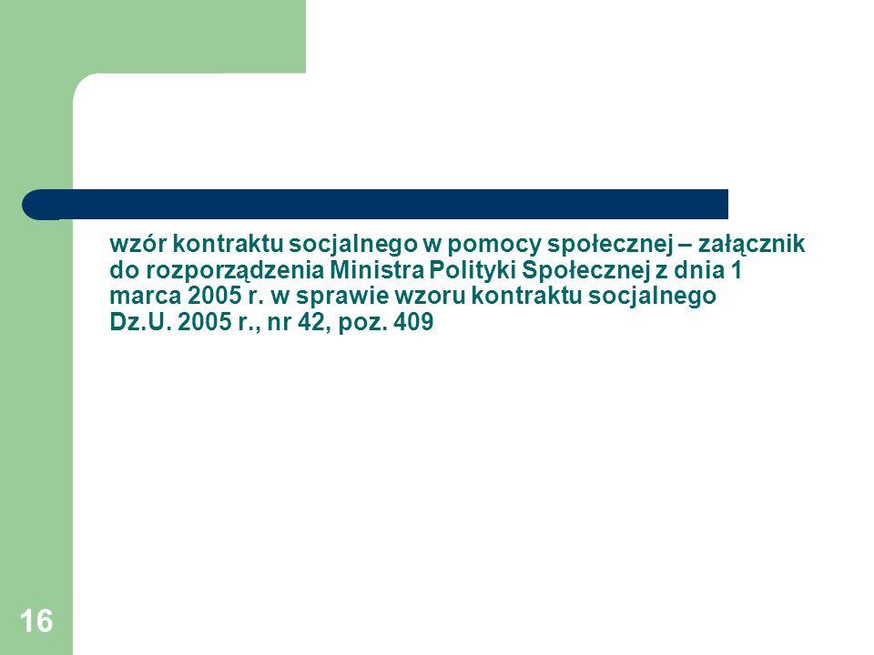 wzór kontraktu socjalnego w pomocy społecznej – załącznik do rozporządzenia Ministra Polityki Społecznej z dnia 1 marca 2005 r.