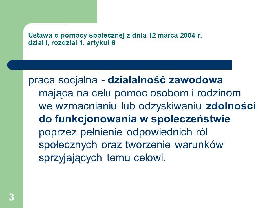 Ustawa o pomocy społecznej z dnia 12 marca 2004 r