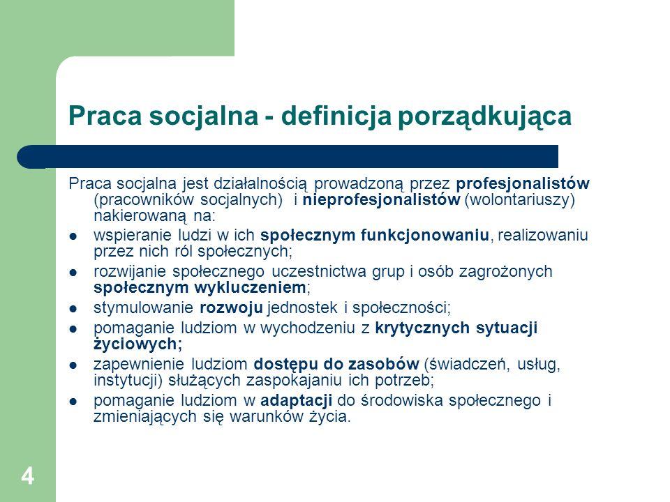 Praca socjalna - definicja porządkująca