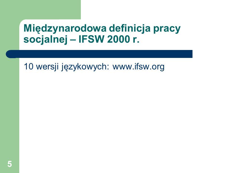 Międzynarodowa definicja pracy socjalnej – IFSW 2000 r.