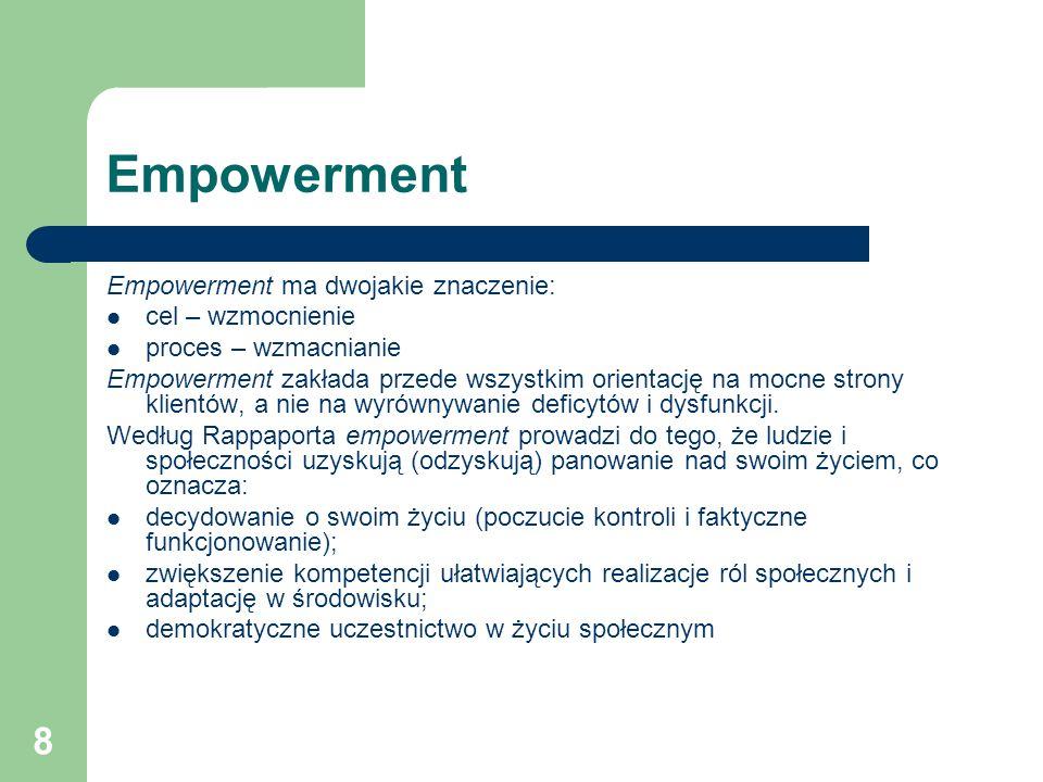 Empowerment Empowerment ma dwojakie znaczenie: cel – wzmocnienie