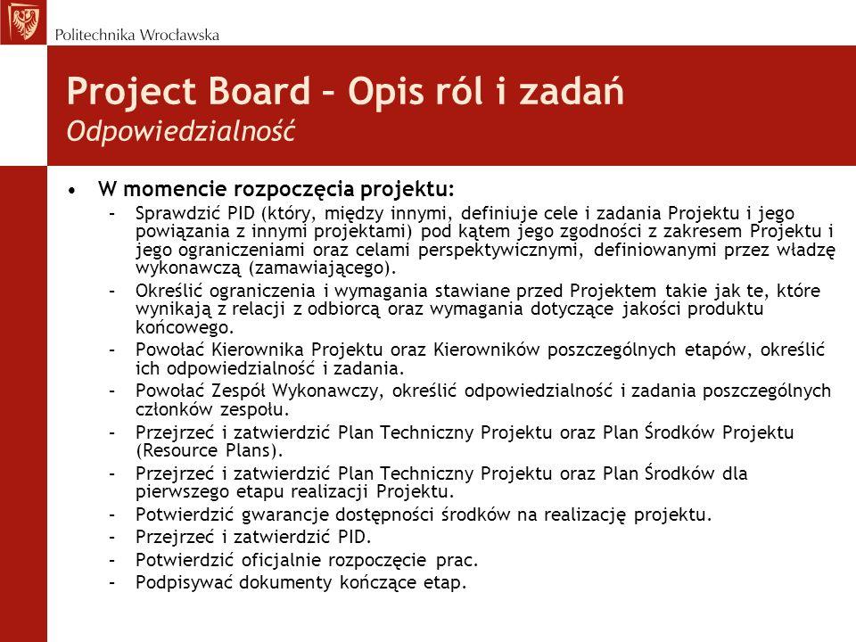 Project Board – Opis ról i zadań Odpowiedzialność