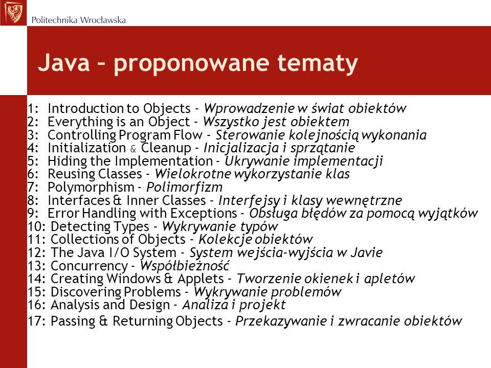 Java – proponowane tematy