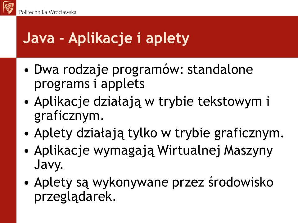 Java - Aplikacje i aplety