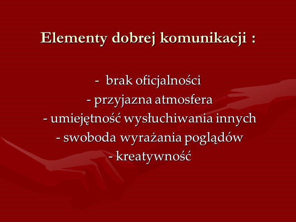 Elementy dobrej komunikacji :