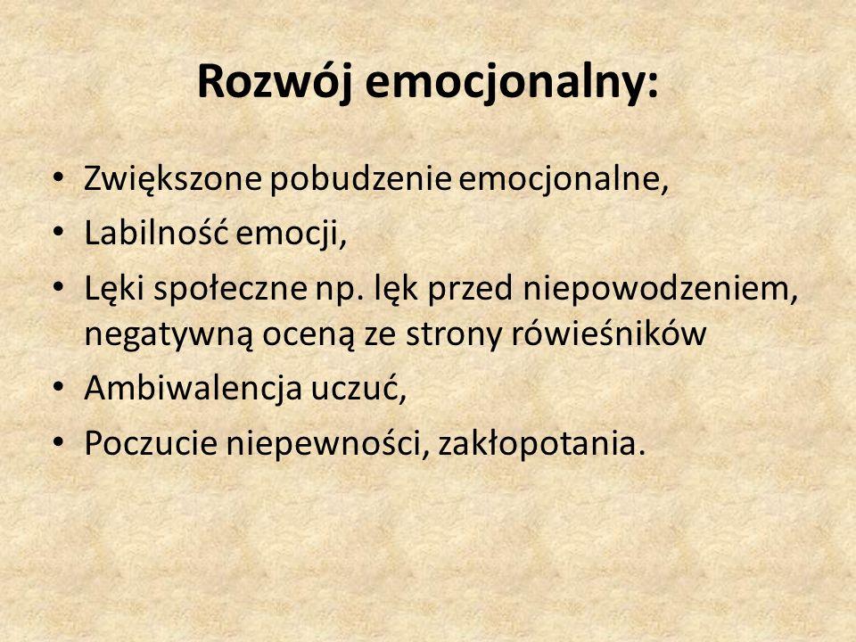 Rozwój emocjonalny: Zwiększone pobudzenie emocjonalne,