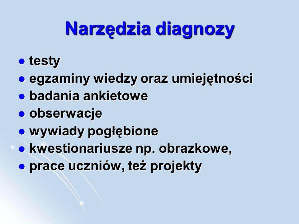 Narzędzia diagnozy testy egzaminy wiedzy oraz umiejętności