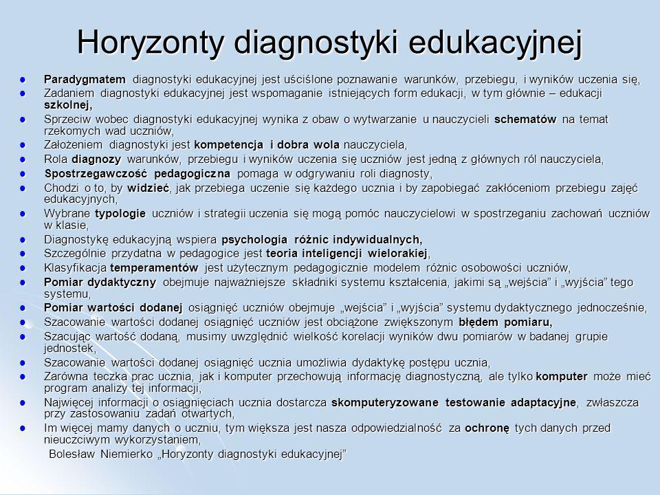 Horyzonty diagnostyki edukacyjnej