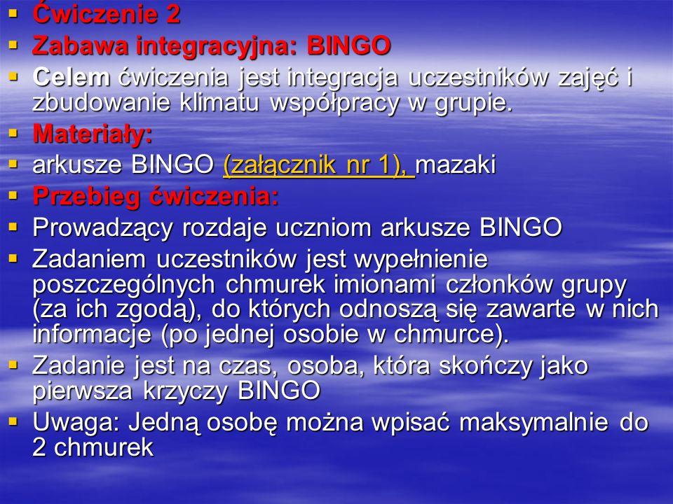 Ćwiczenie 2 Zabawa integracyjna: BINGO. Celem ćwiczenia jest integracja uczestników zajęć i zbudowanie klimatu współpracy w grupie.