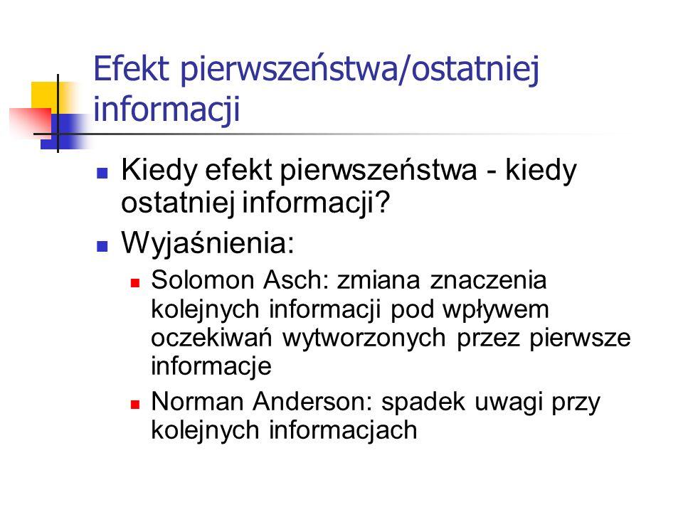 Efekt pierwszeństwa/ostatniej informacji