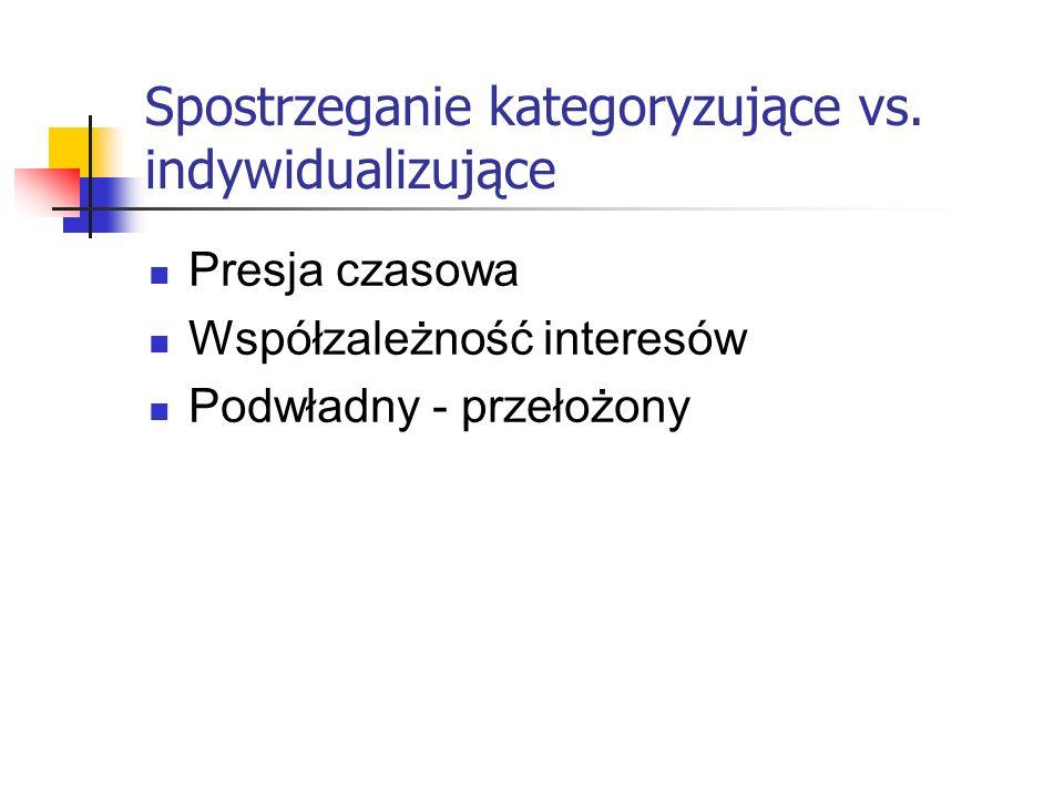 Spostrzeganie kategoryzujące vs. indywidualizujące