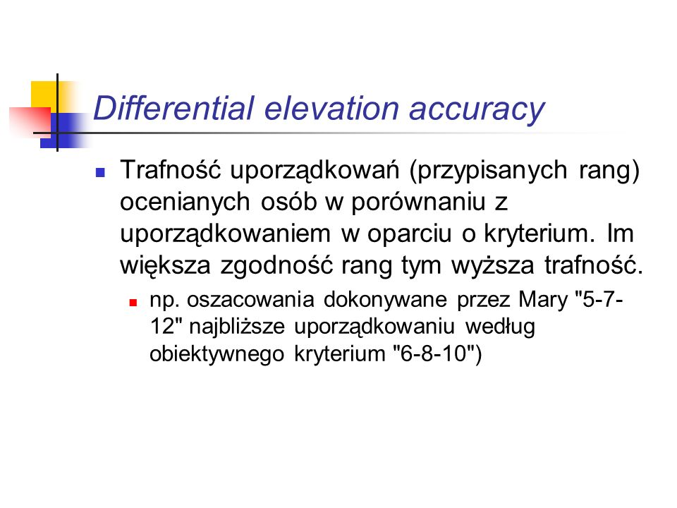 Differential elevation accuracy
