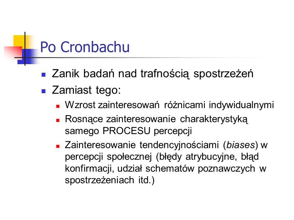 Po Cronbachu Zanik badań nad trafnością spostrzeżeń Zamiast tego: