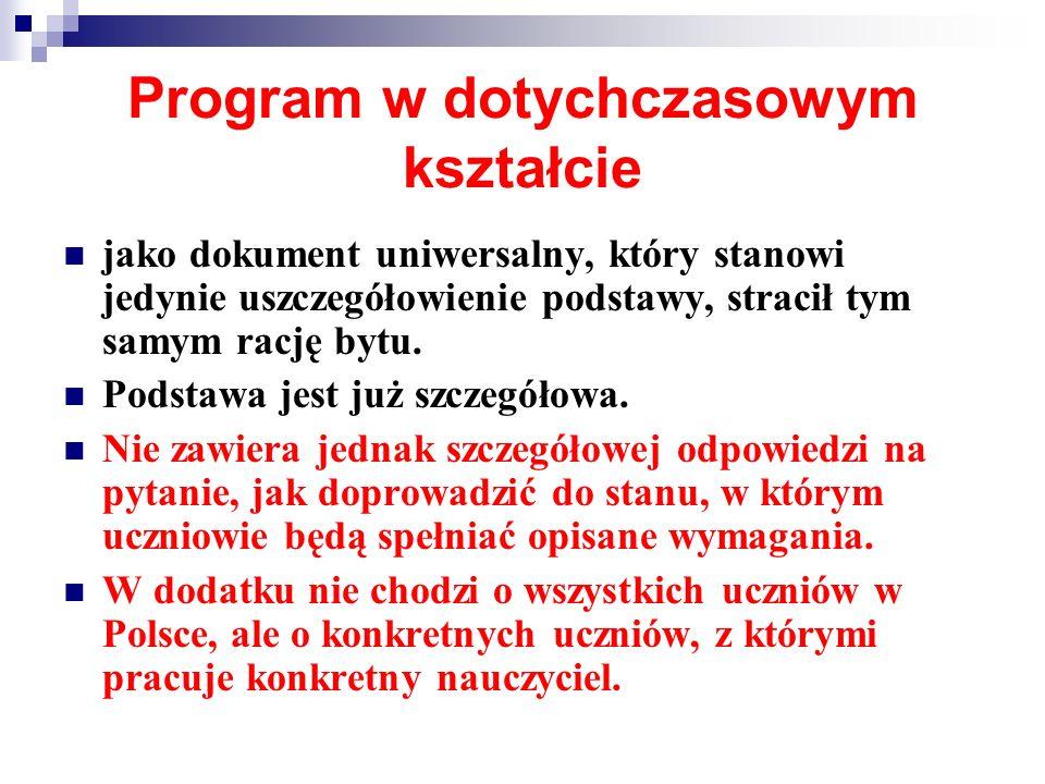 Program w dotychczasowym kształcie