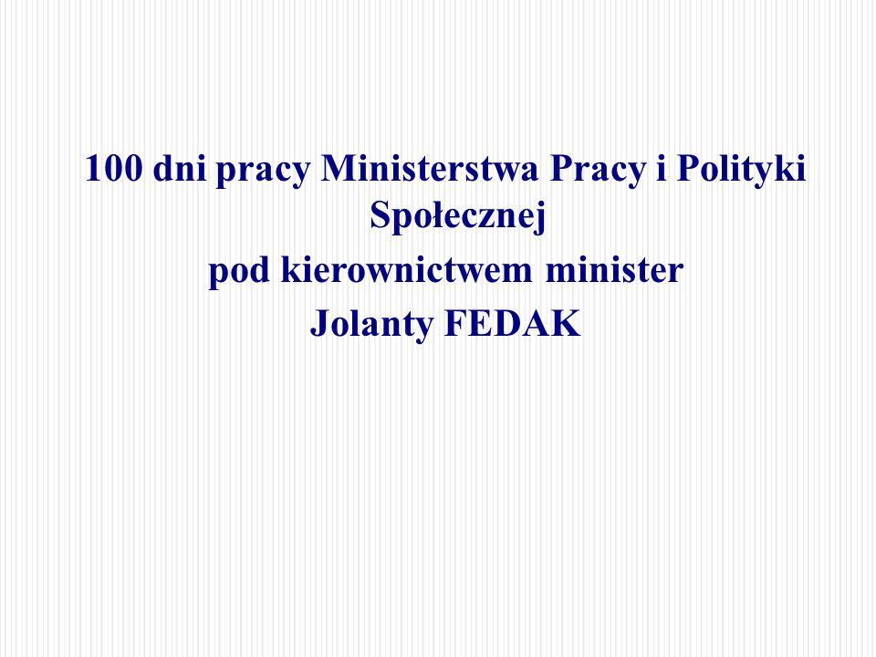 100 dni pracy Ministerstwa Pracy i Polityki Społecznej